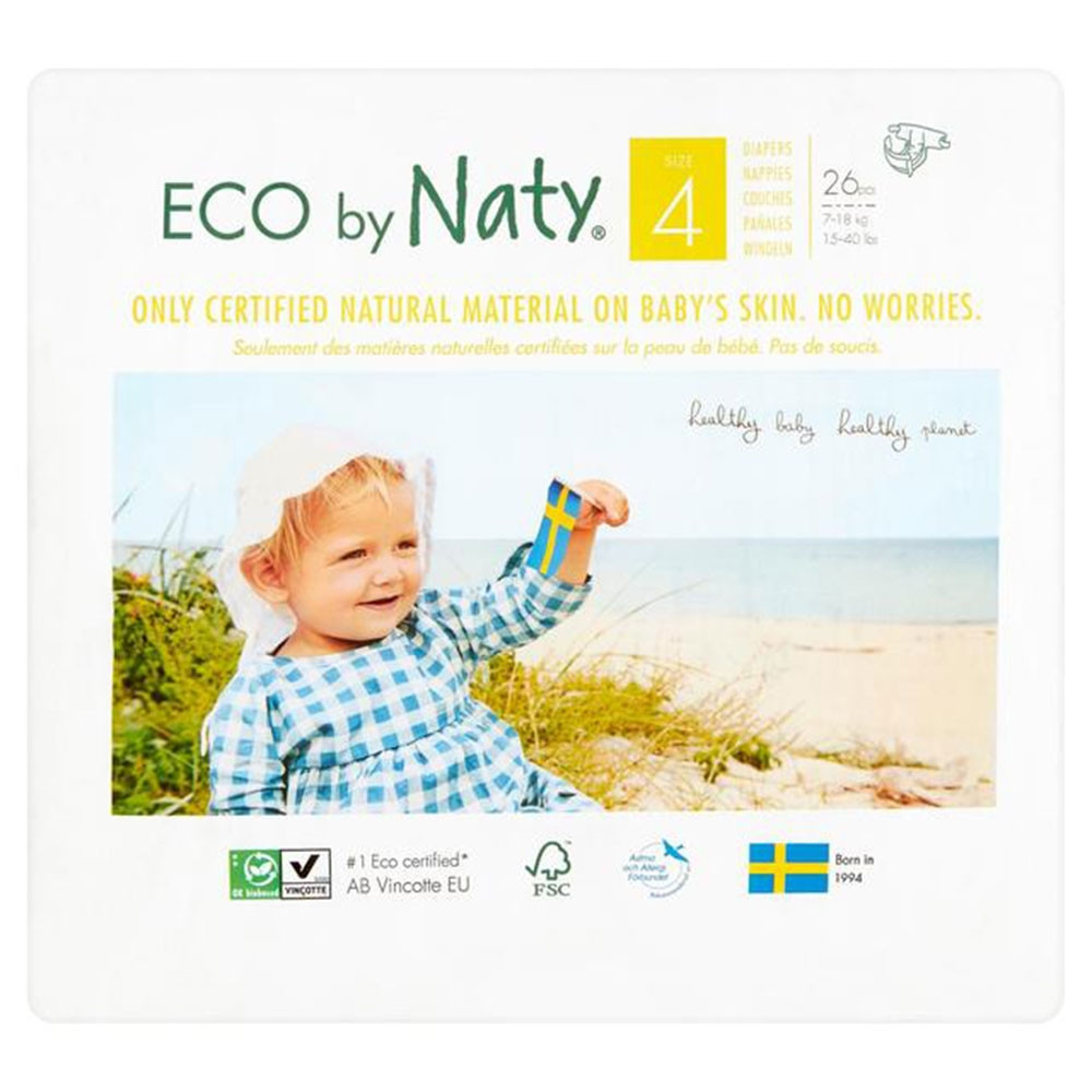 52... 2 x Packs of 26 Naty by Nature Babycare Newborn Size 1 ECO Nappies