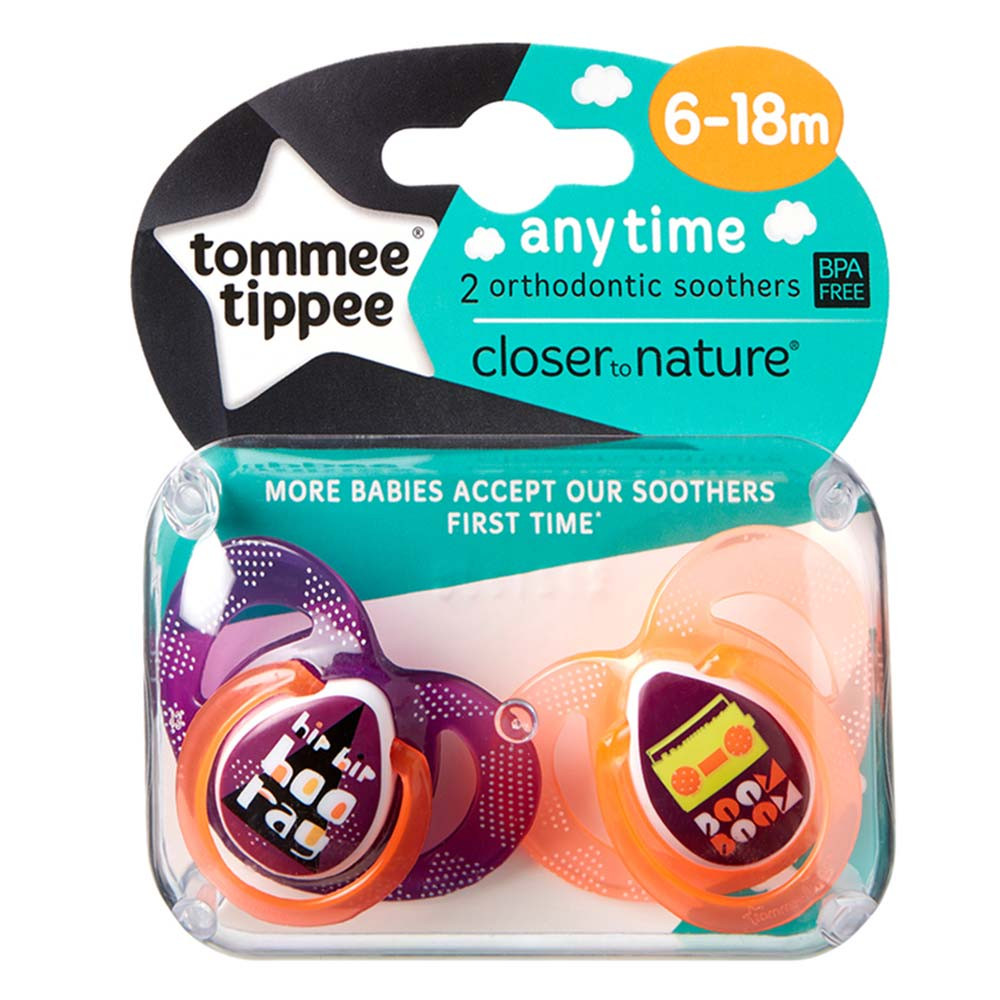 Tommee Tippee Closer To Nature Night Time 2 x Sucette 0-6m Rose