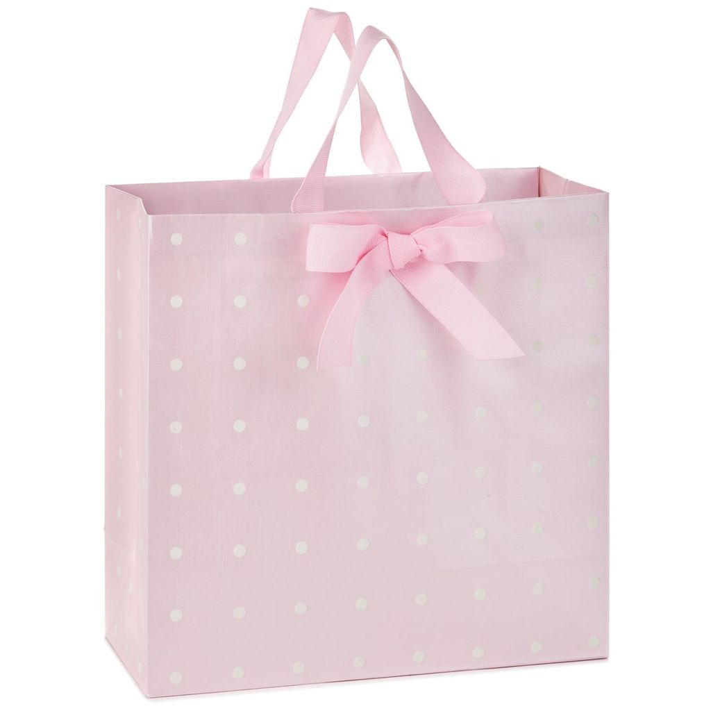 White Dots On Pink Large Square Gift Bag