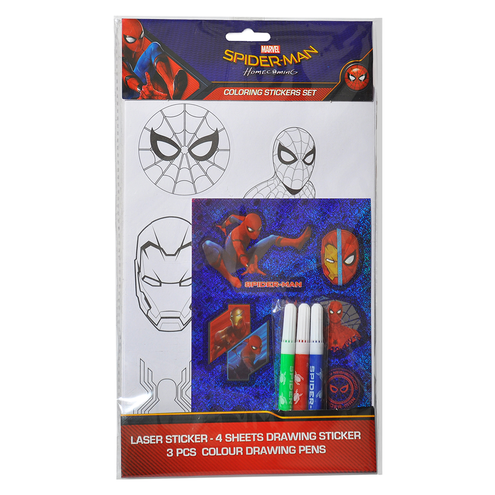 st sfco spider man spidey face coloring sticker red blue