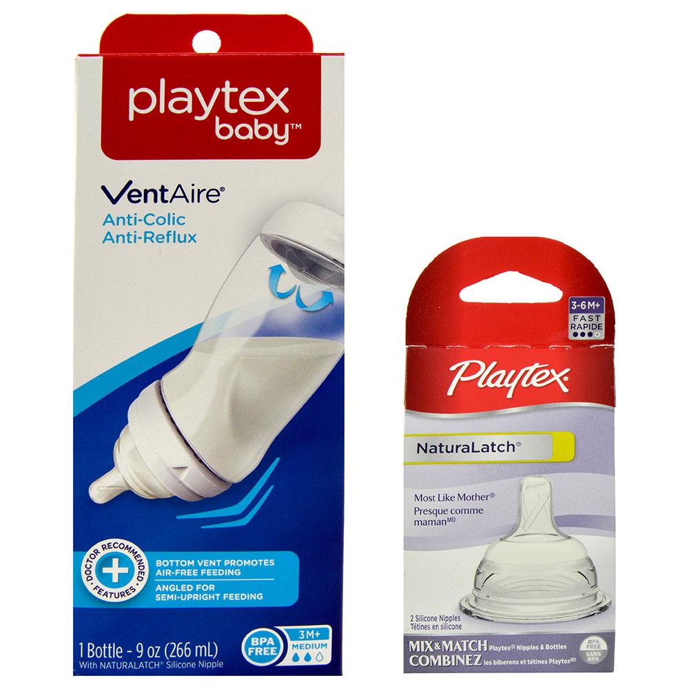 Playtex Silicone Nipples 3M 6M Fast /& Medium Flow Set of 2 Nipples NEW