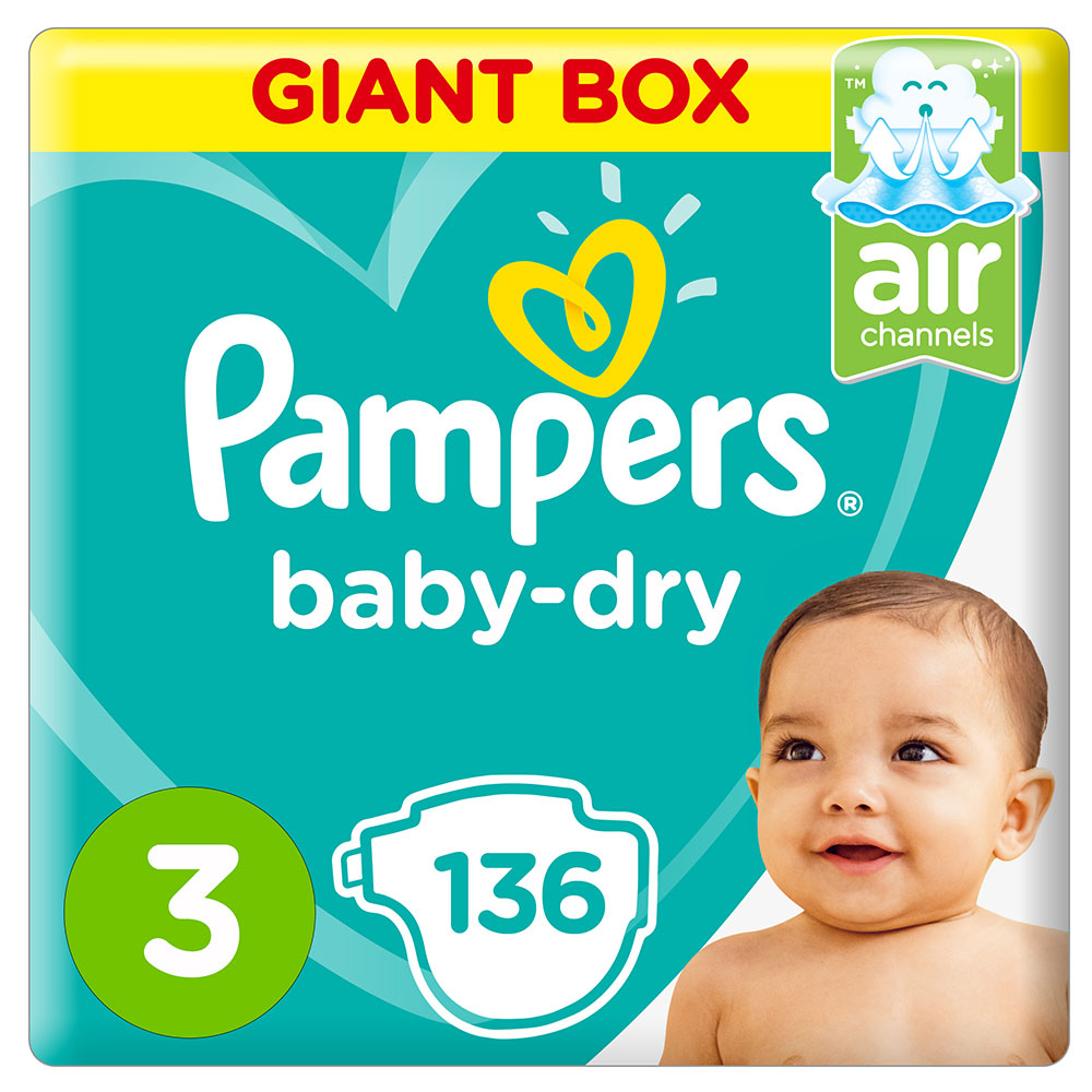 Pampers Baby-Dry Size 3 30 Nappies Carry Pack x4 6-10kg