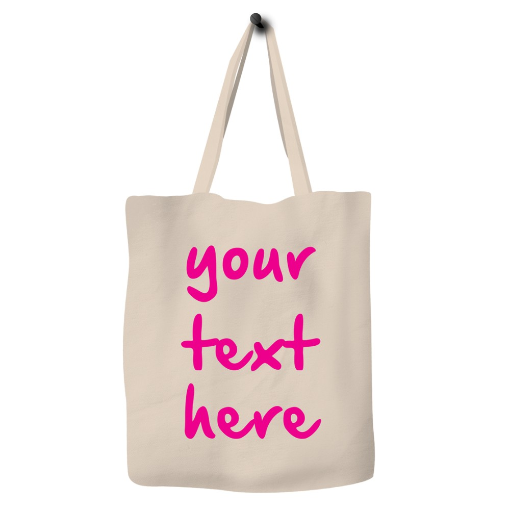 Save The Ocean Eco Bag Canvas Tote Pink Font